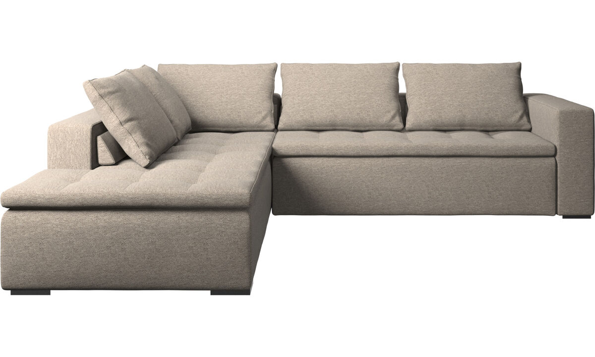 Corner sofas - Mezzo corner sofa with lounging unit - Beige - Fabric