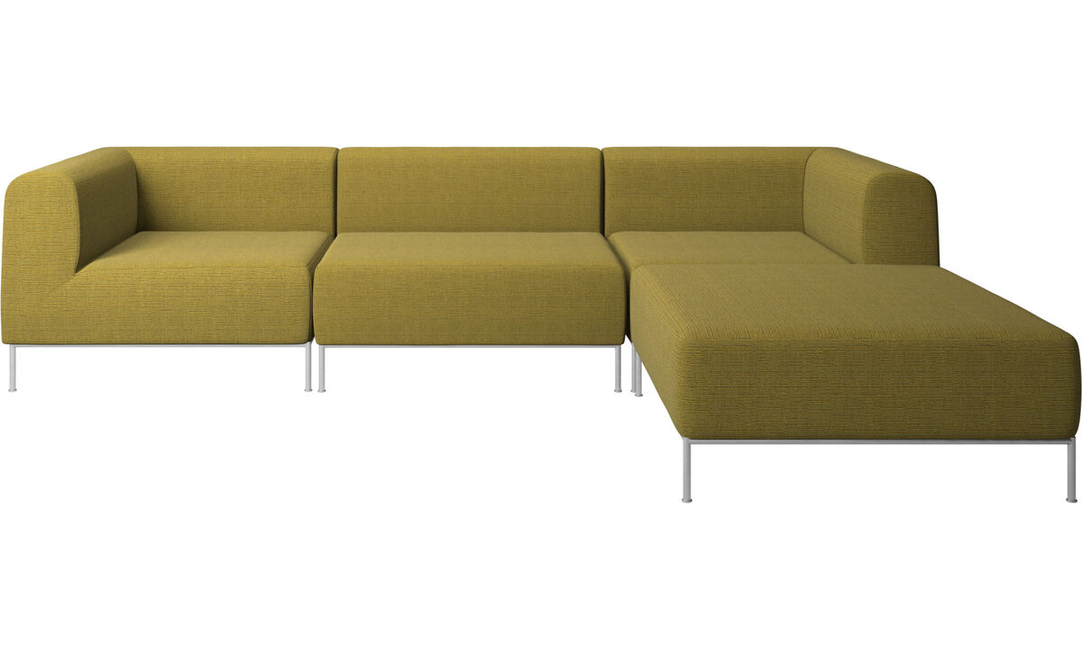 Sofaer med hvilemodul - Miami sofa med puf på højre side - Gul - Stof