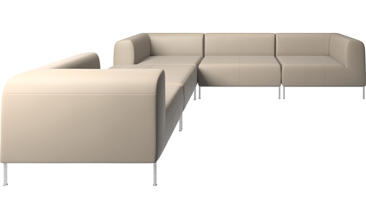 Corner sofas - Miami corner sofa with footstool on left side - Beige - Leather