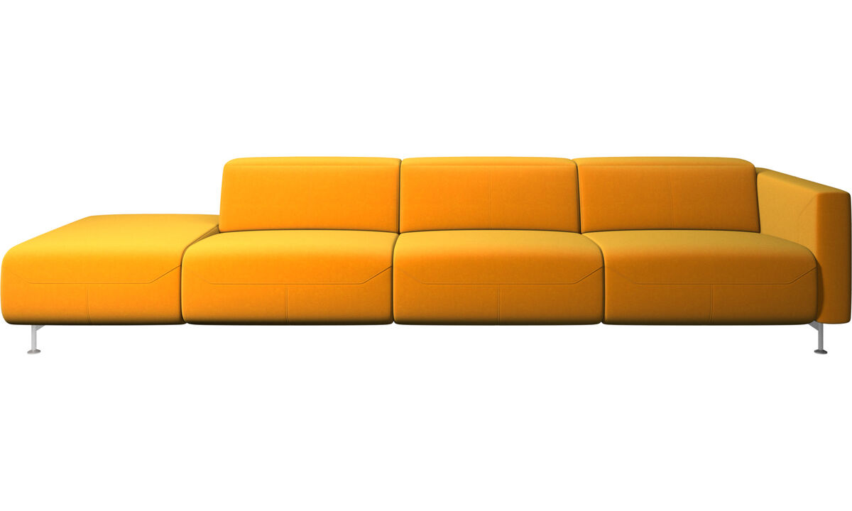 Recliner sofas - Parma reclining sofa with open end - Orange - Fabric