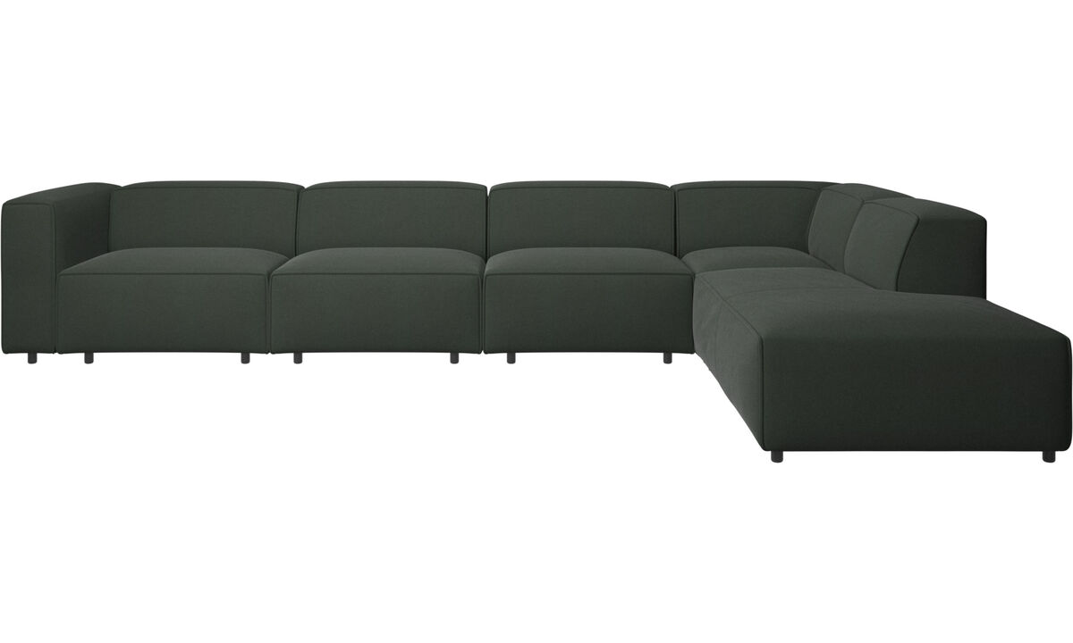 Sofas with open end - Carmo motion corner sofa - Green - Fabric
