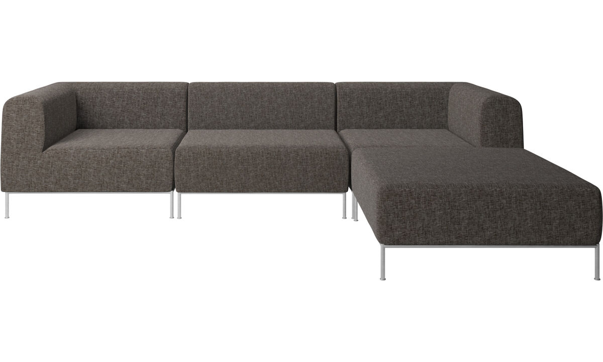 Sofaer med hvilemodul - Miami sofa med puf på højre side - Brun - Stof