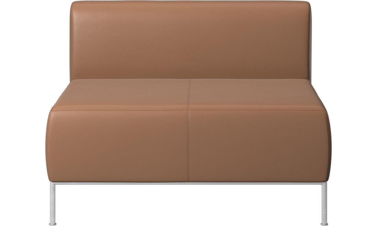 Sillones - asiento Miami con respaldo - En marrón - Piel