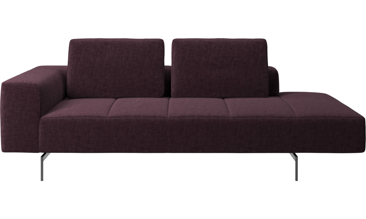 Chaise lounge sofas - Amsterdam resting module for sofa, armrest left, open end right - Red - Fabric