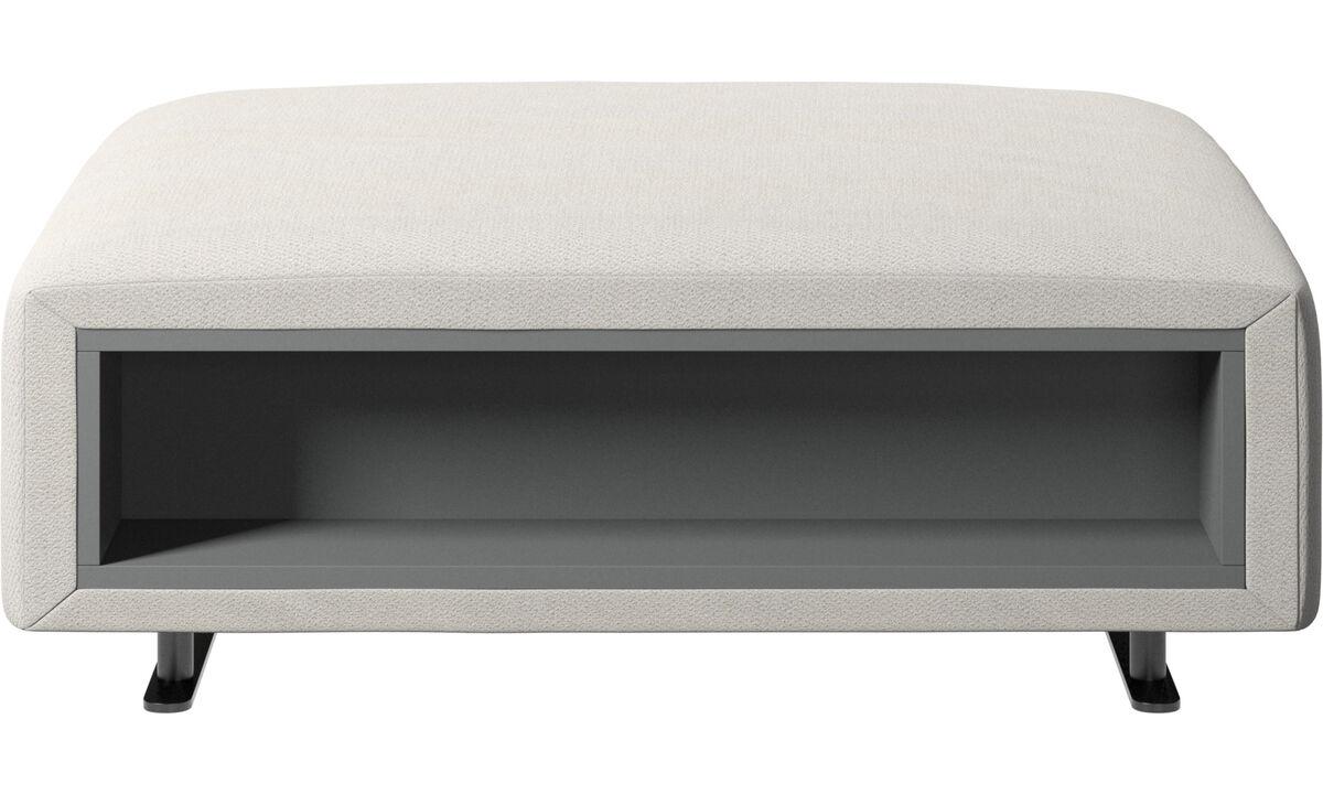 软垫凳 - Hampton 坐墩带左右边储物 - 白色 - 布艺