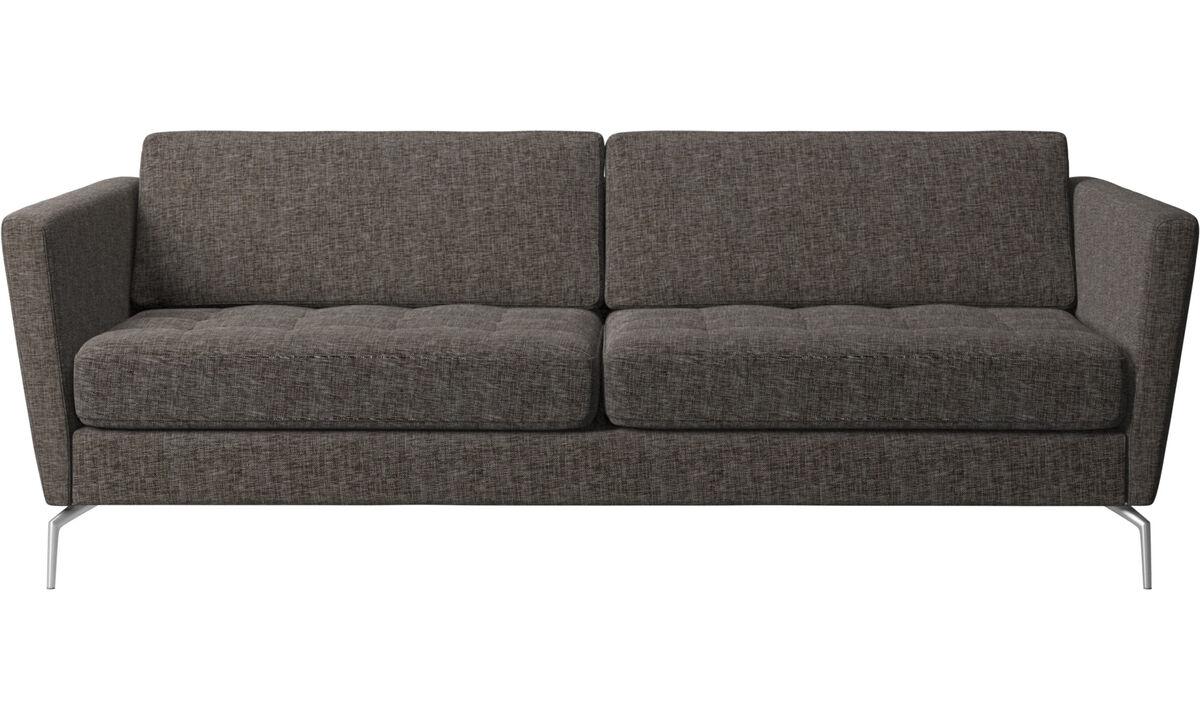 Sofás de 2 plazas y media - sofá Osaka, asiento capitoné - En marrón - Tela