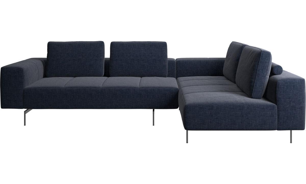 Canapés d'angle - canapé d'angle Amsterdam avec méridienne - Bleu - Tissu