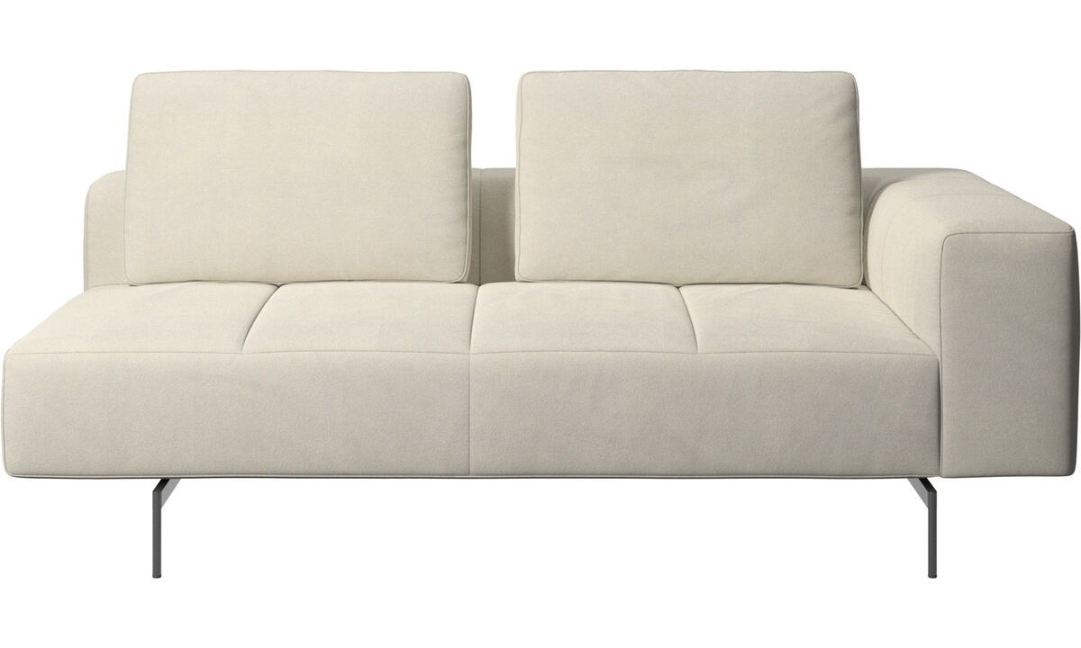 2.5 seater sofas - Amsterdam 2,5 seating module, armrest right - White - Fabric