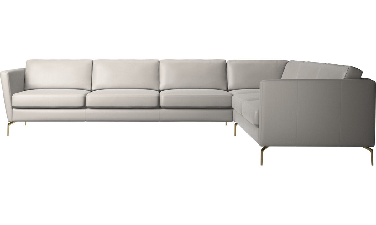 Corner sofas - Osaka corner sofa, regular seat - Gray - Leather
