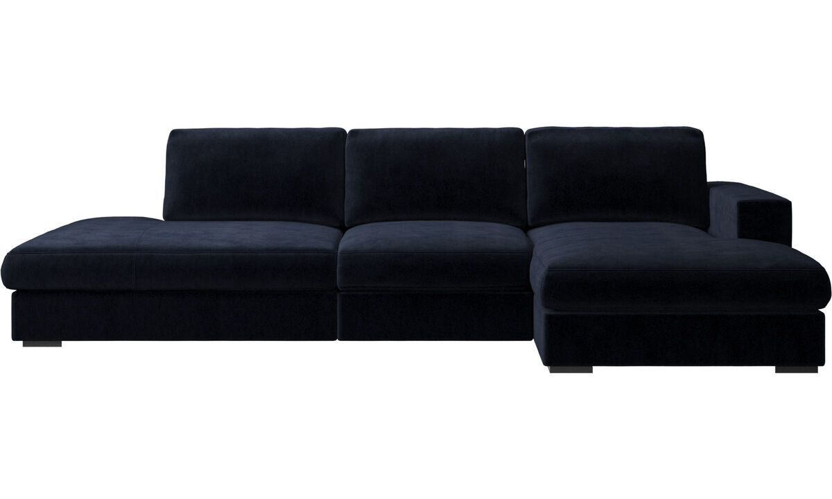 Sofas with open end - Cenova sofa with lounging and resting unit - Blue - Fabric
