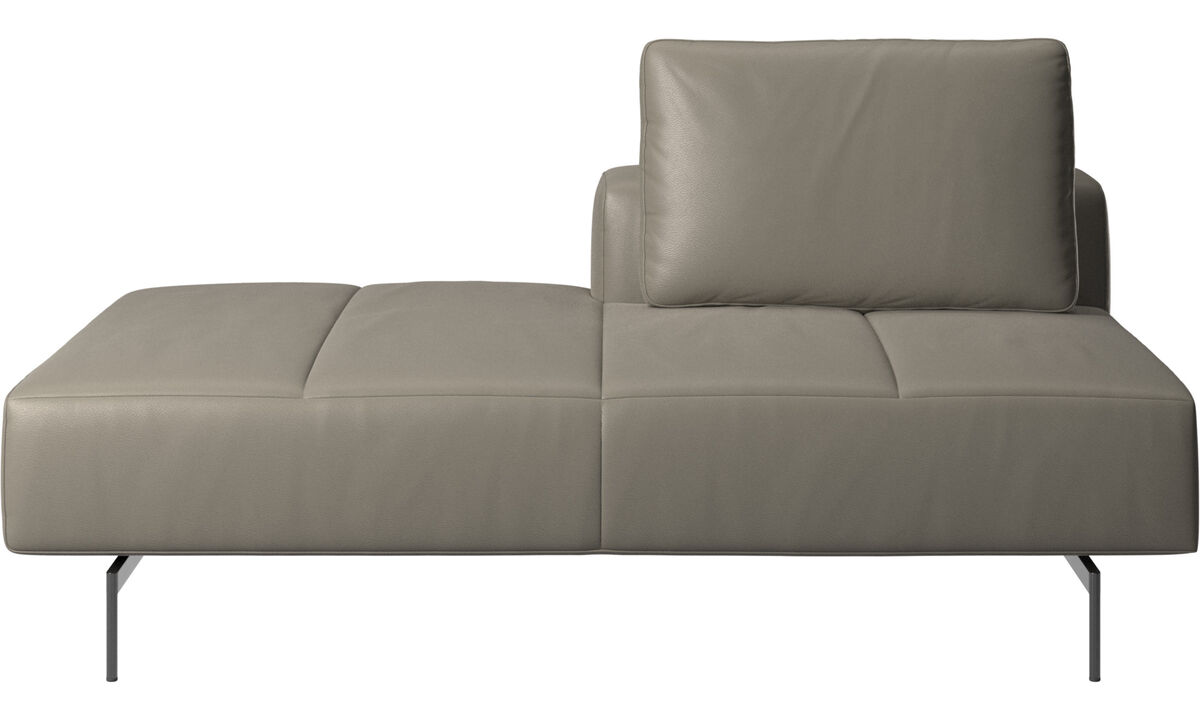 Modular sofas - Amsterdam Iounging module for sofa, back rest right, open end left - Grey - Leather