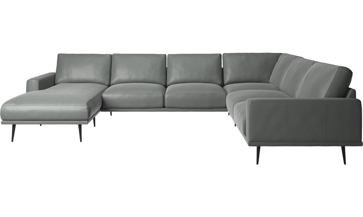 Canapés avec chaise longue - canapé d'angle Carlton avec méridienne - Gris - Cuir