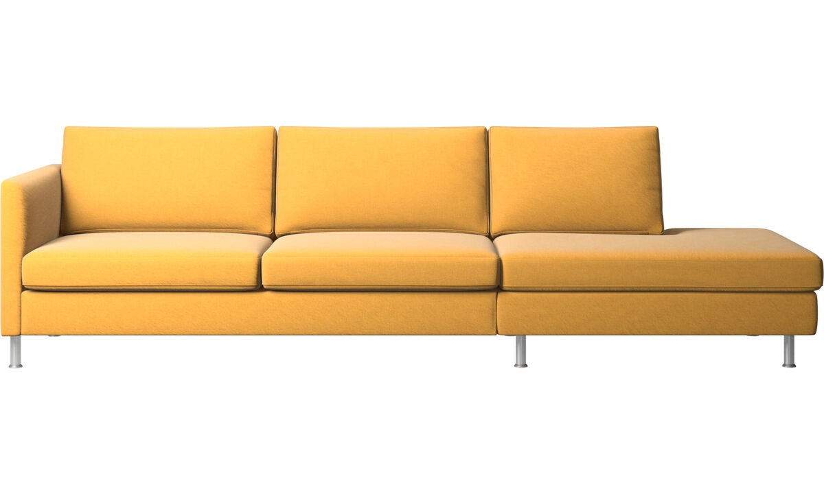 Sofás con lado abierto - sofá Indivi con módulo de descanso - En amarillo - Tela