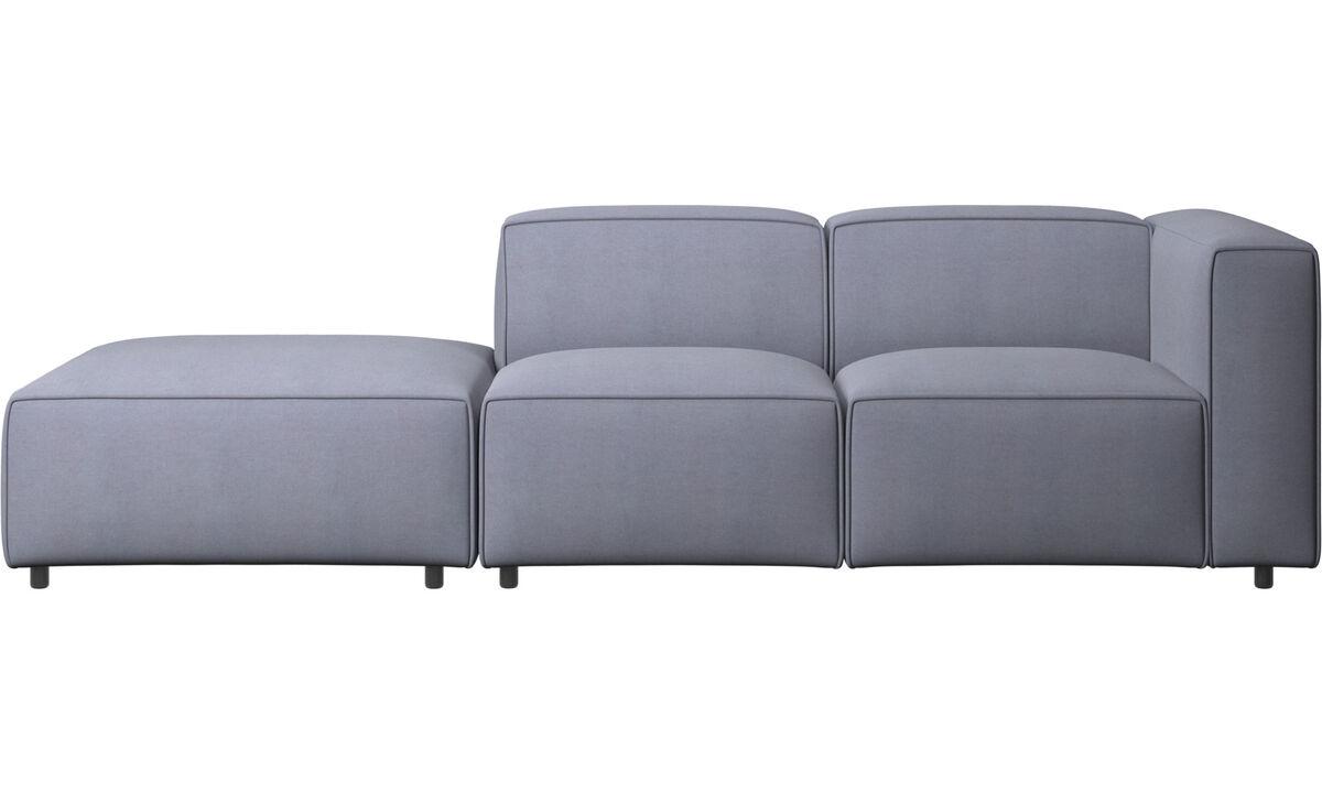 Sofás con lado abierto - Sofá Carmo con movimiento - En azul - Tela