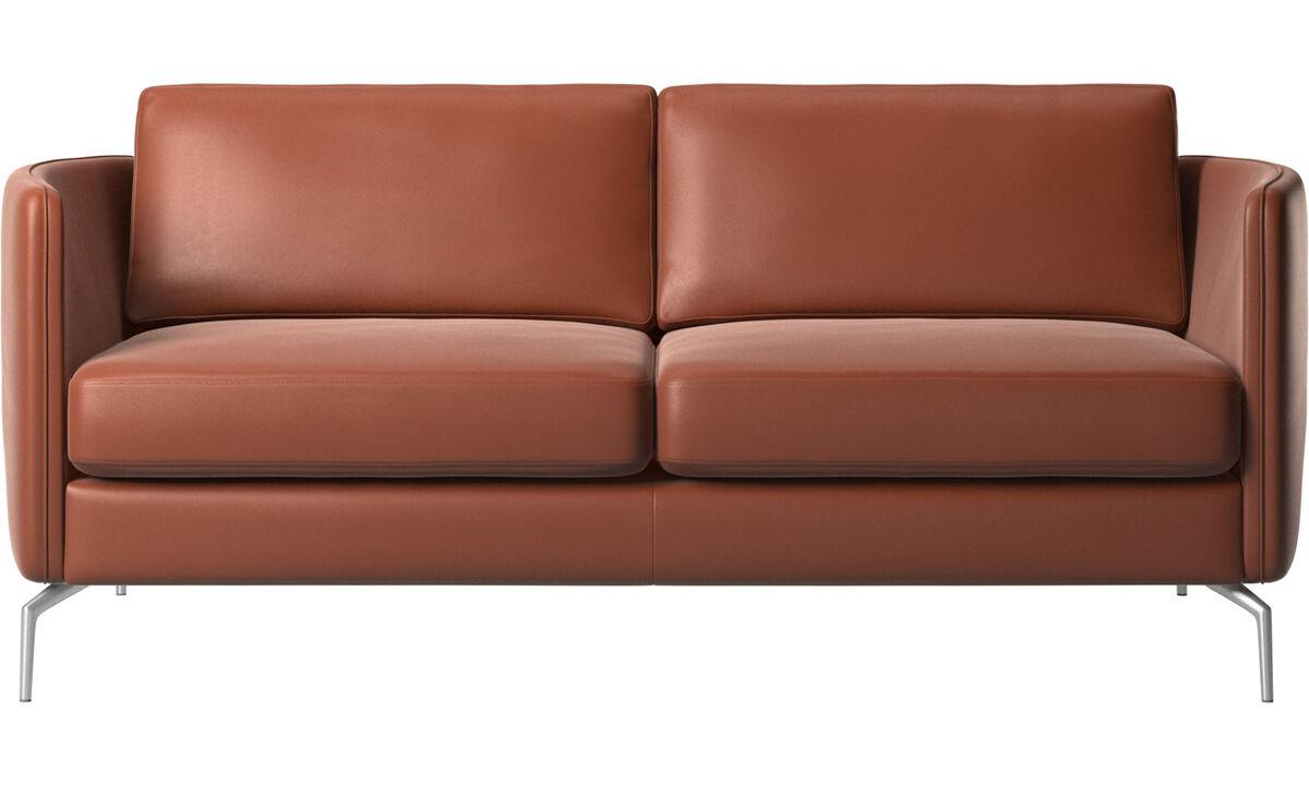 Sofás de 2 plazas - sofá Osaka, asiento regular - En marrón - Piel
