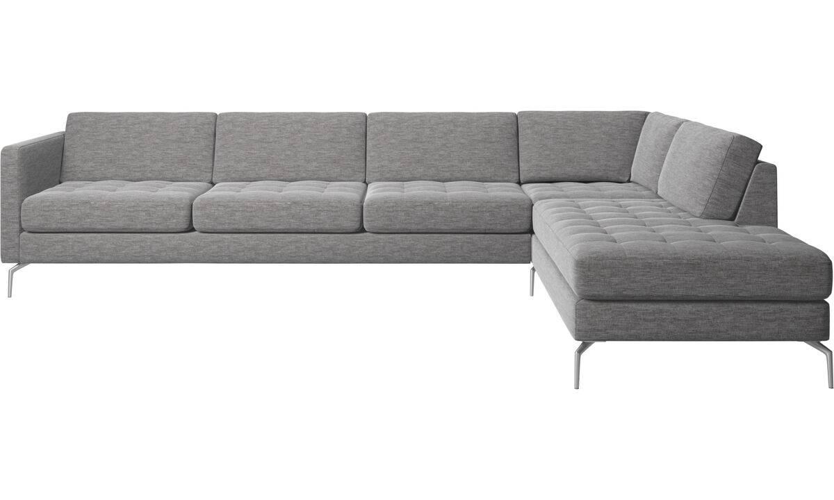 Sofas with open end - Osaka corner sofa with lounging unit, tufted seat - Grey - Fabric