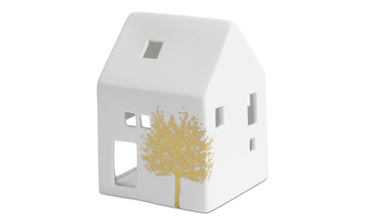 Christmas accessories - House tealight holder - White - Ceramic