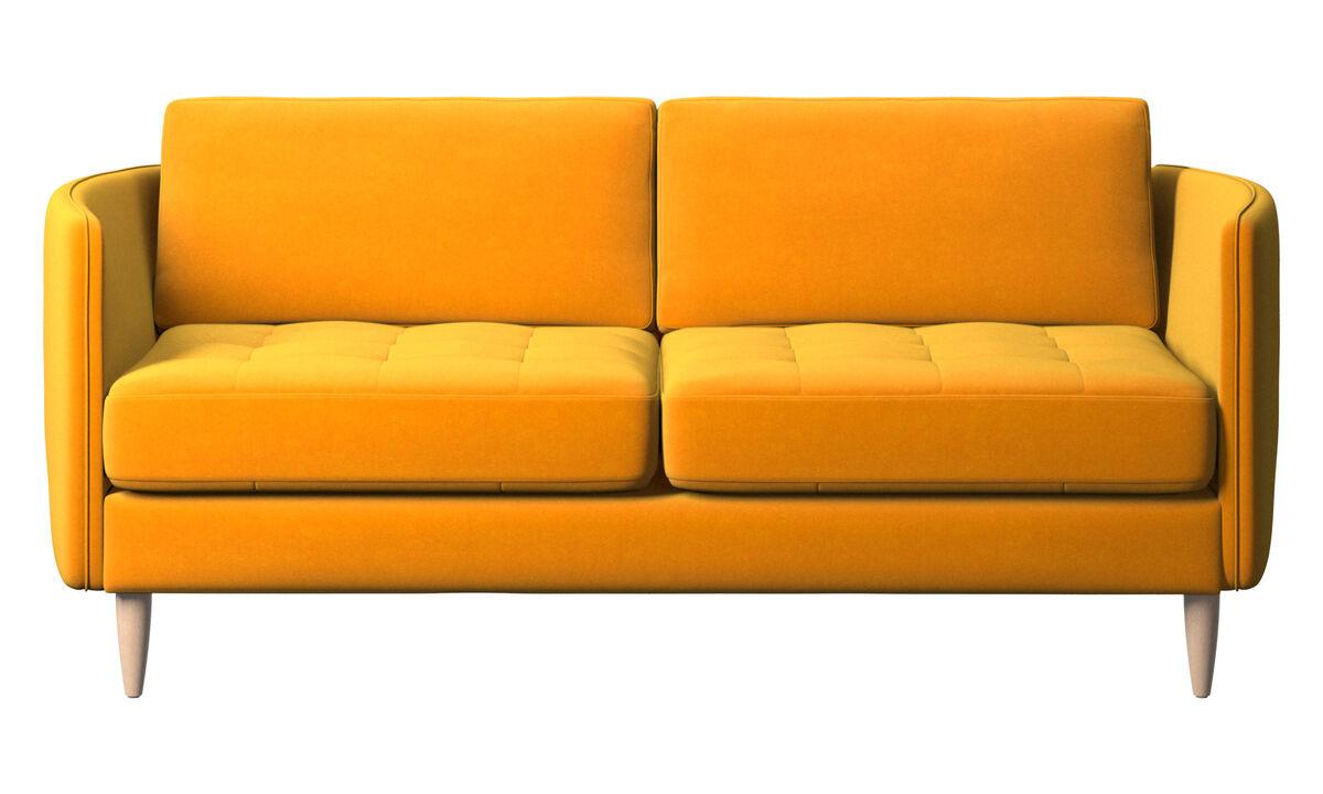 Sofás de 2 lugares - sofá Osaka, assento tufado - Laranja - Tecido