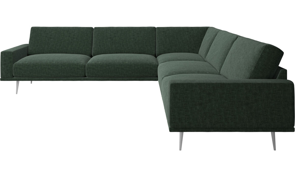 Sofás esquineros - sofá esquinero Carlton - En verde - Tela