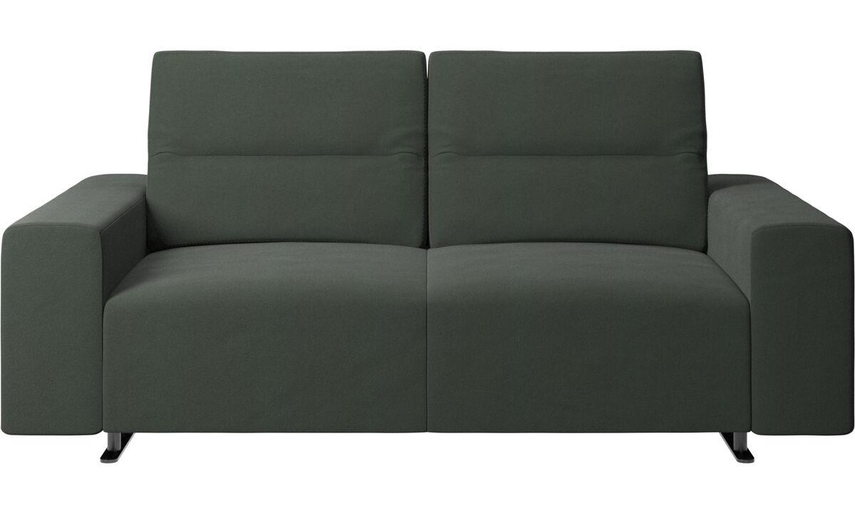 Sofás de 2 lugares - Sofá Hampton com encosto ajustável e armazenamento na lateral direita - Verde - Tecido