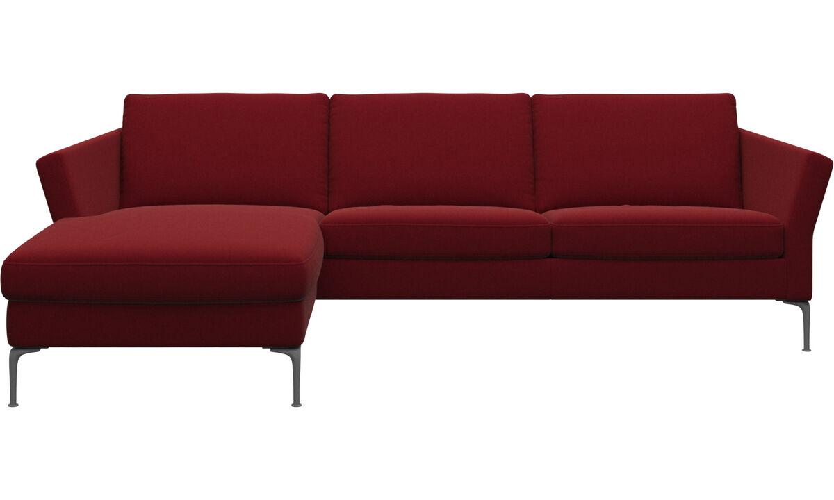 Sofás com chaise - Sofá Marseille chaise-longue - Vermelho - Tecido