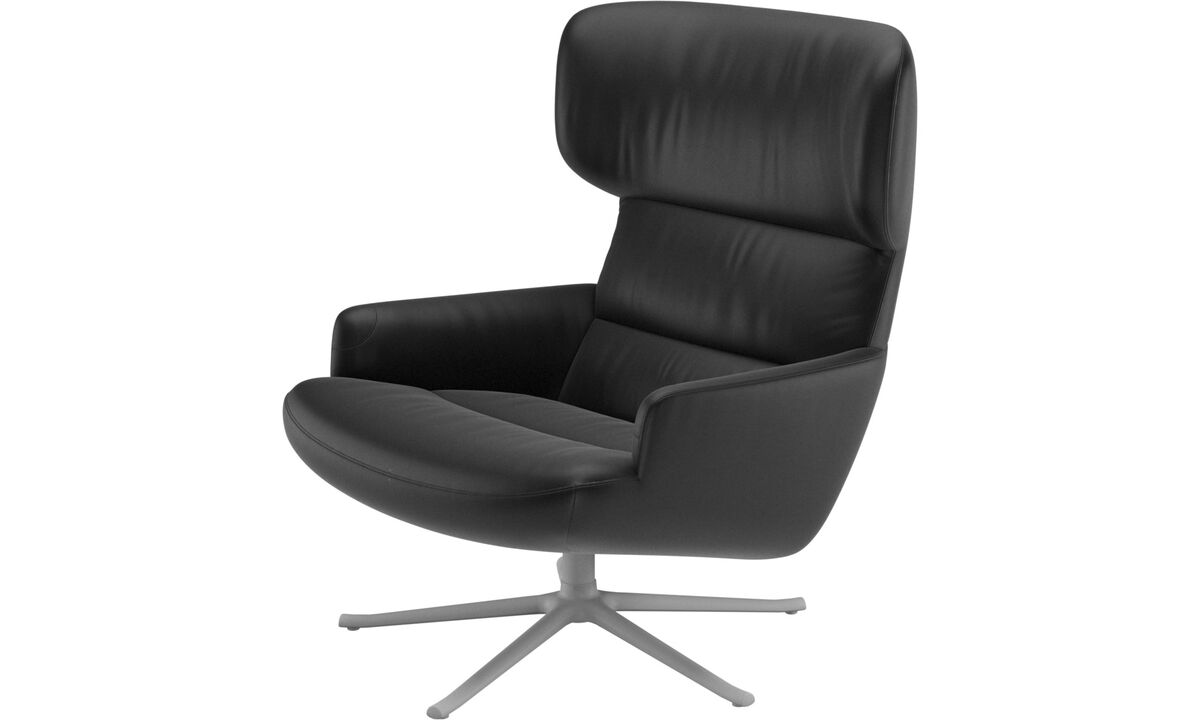 Armchairs - Trento chair with swivel function - Black - Leather