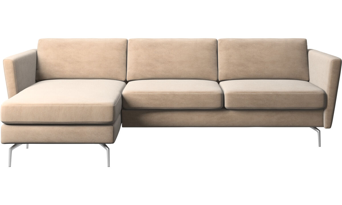Sofás com chaise - Sofá Osaka com módulo chaise-longue, assento regular - Bege - Tecido