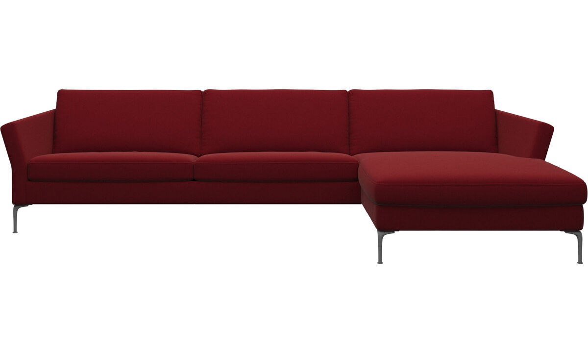 Chaise lounge sofas - Marseille sofa with resting unit - Red - Fabric