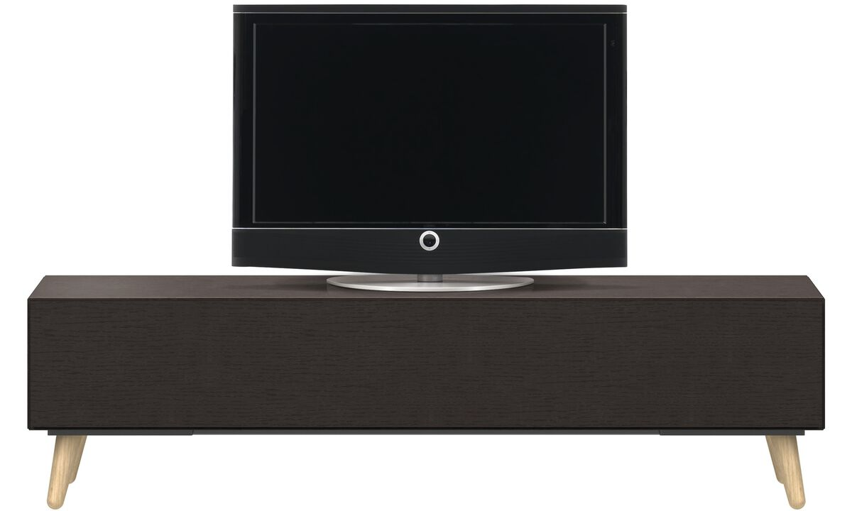 Tv units - Lugano media unit with drawer - Black - Oak