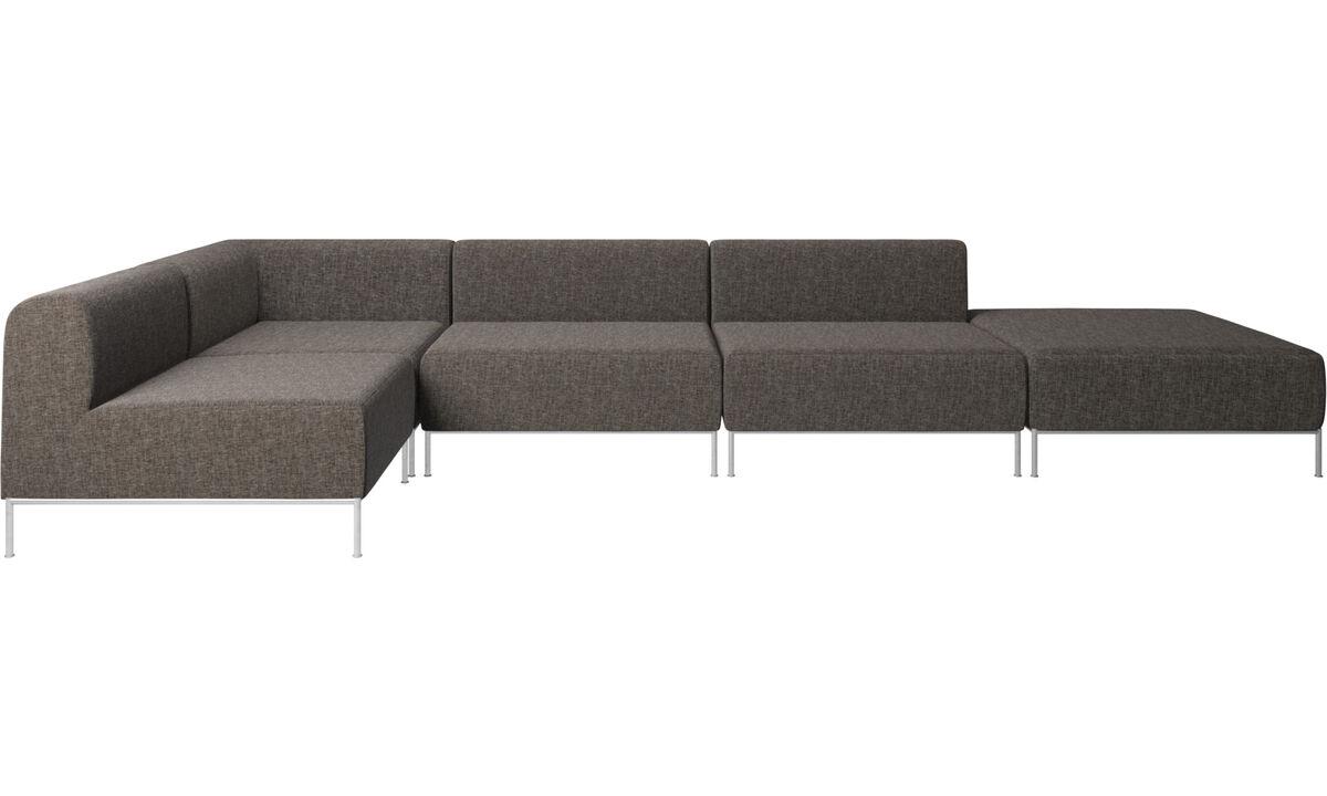 Modulære sofaer - Miami hjørnesofa med puf på højre side - Brun - Stof
