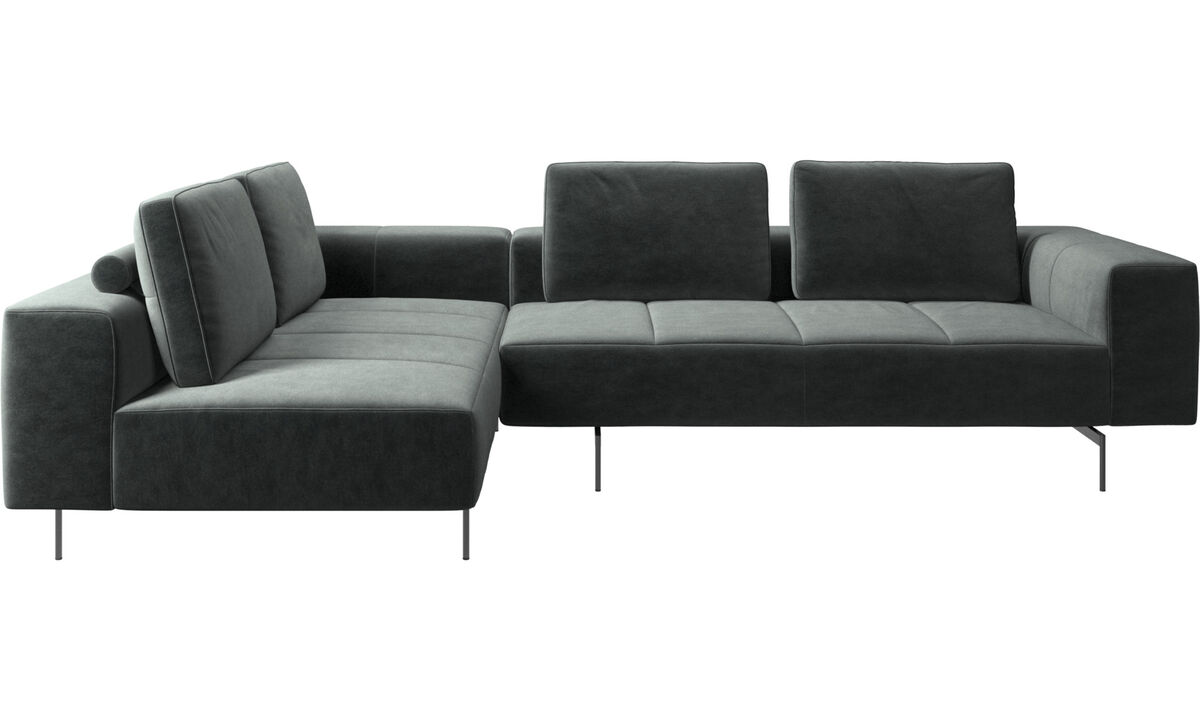 Corner & L-Shaped Sofa - Amsterdam corner sofa with lounging unit - Green - Fabric