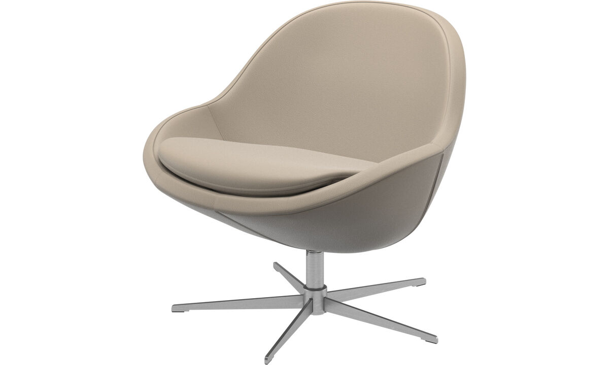 Armchairs - Veneto chair with swivel function - Beige - Leather