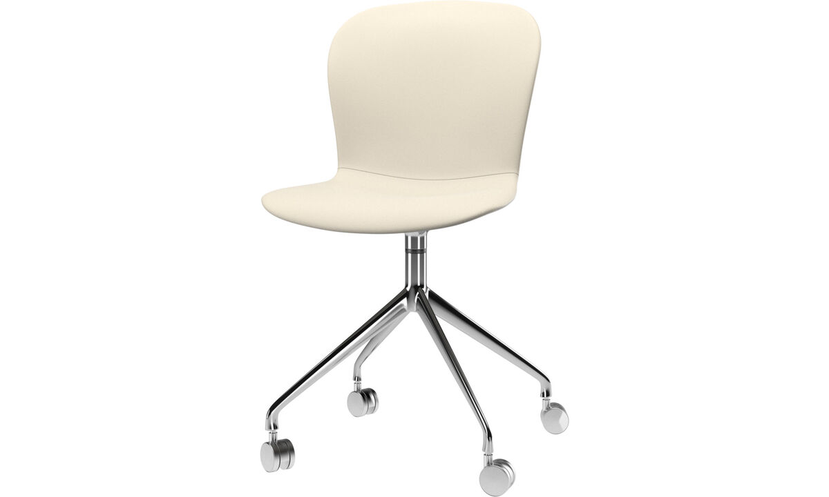 Dining chairs - Adelaide chair with swivel function and wheels - White - Leather