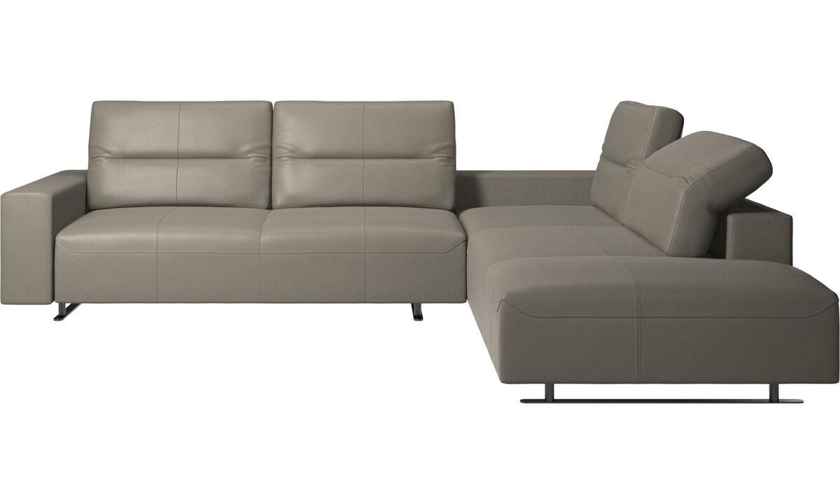 Corner sofas - Hampton corner sofa with adjustable back and lounging unit - Grey - Leather
