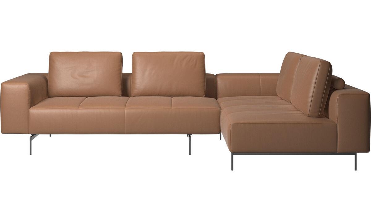 Rohové sedačky - rohová sedačka Amsterdam s oddychovým modulom - Hnedá - Koža