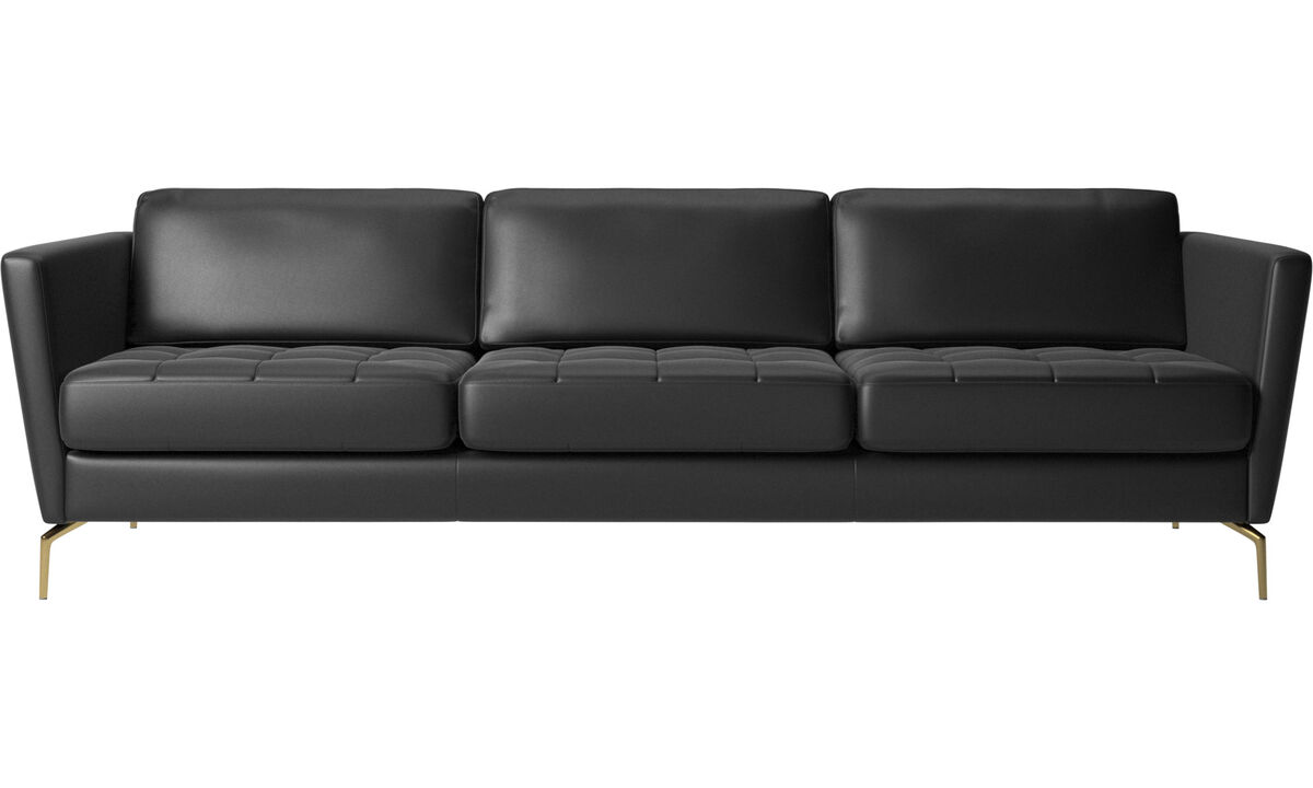 3 seater sofas - Osaka sofa, tufted seat - Black - Leather