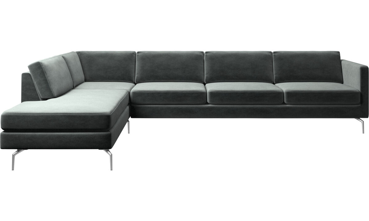 Sofas with open end - Osaka corner sofa with lounging unit, regular seat - Green - Fabric