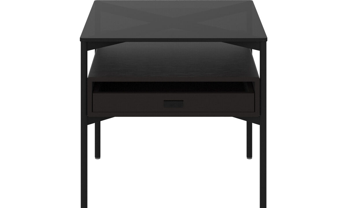 Side tables - Los Angeles side table with storage - drawer - square - Brown - Glass