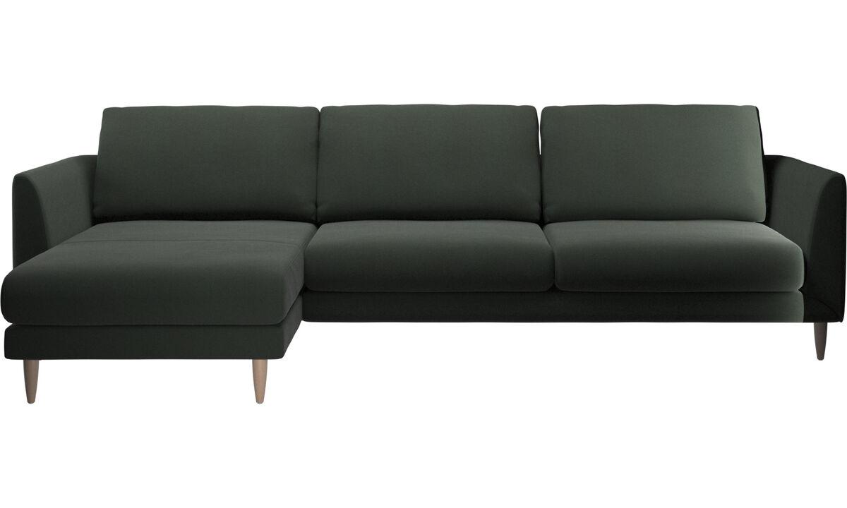 Sofás com chaise - Sofá Fargo chaise-longue - Verde - Tecido