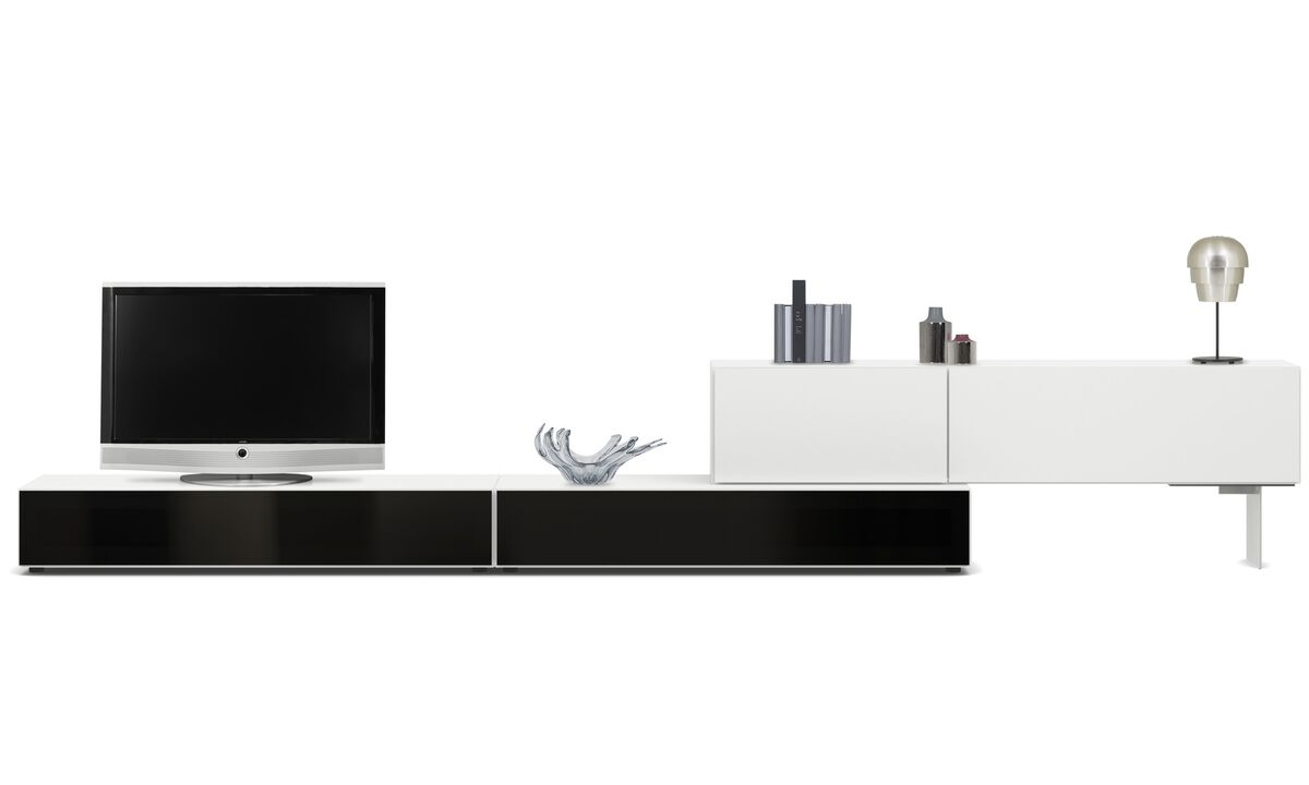 Tv units - Lugano base cabinet with drop-down doors - White - Lacquered