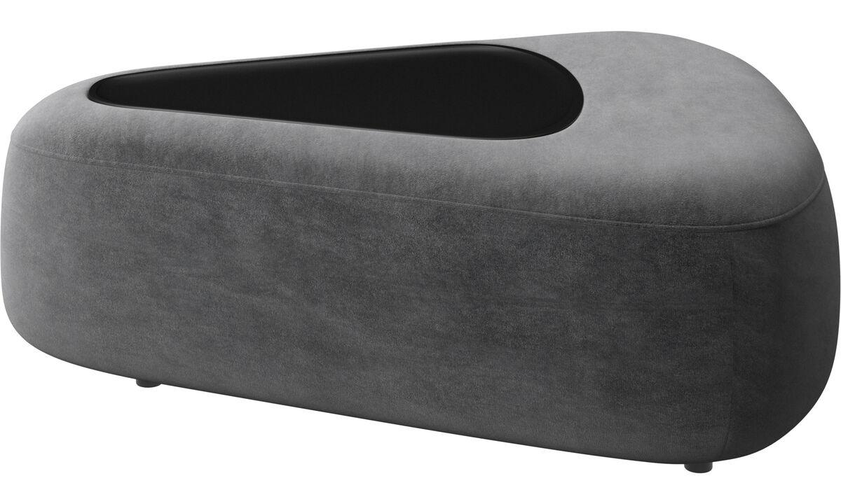Sofás modulares - puf triangular Ottawa con bandeja - En gris - Tela