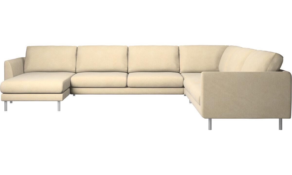 Corner sofas - Fargo corner sofa with resting unit - Beige - Fabric