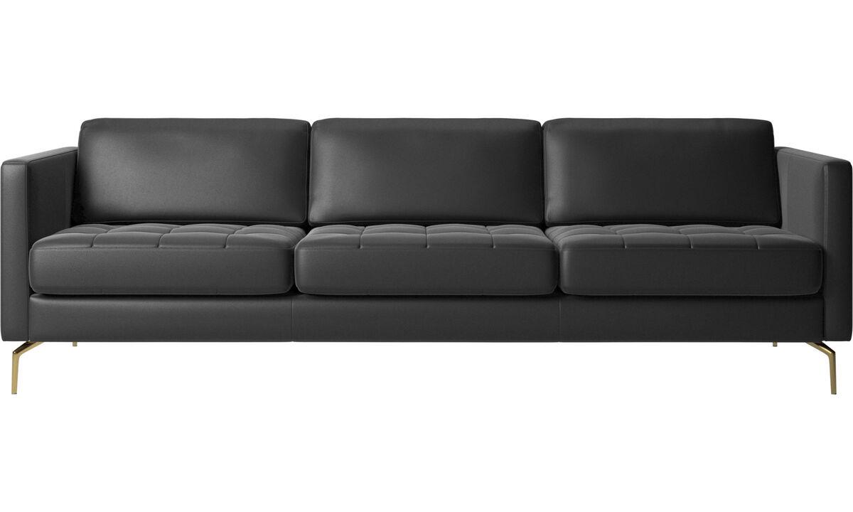 3 seater sofas - Osaka sofa, tufted seat - Black - Leather