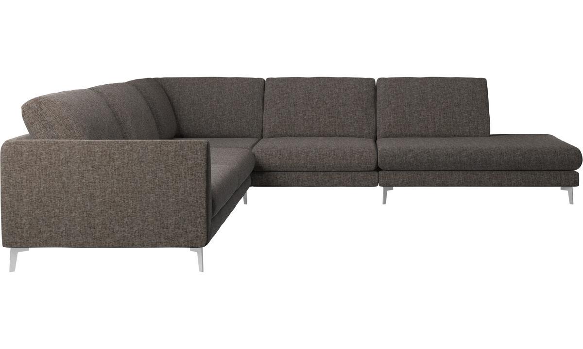 Corner sofas - Fargo corner sofa with lounging unit - Brown - Fabric