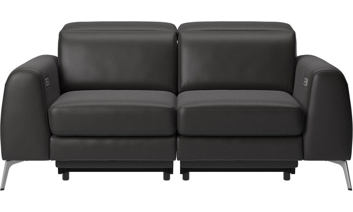 2 seater sofas - Madison sofa with electric seat, head and footrest motion (transformer and cable plug-in included) - Black - Leather