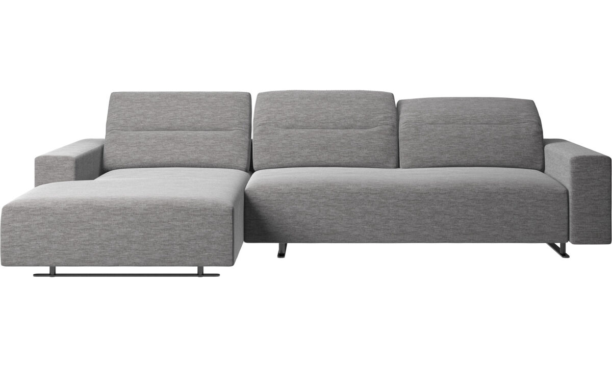 Chaise longue sofas - Hampton sofa with adjustable back and resting unit left side, storage right side - Grey - Fabric