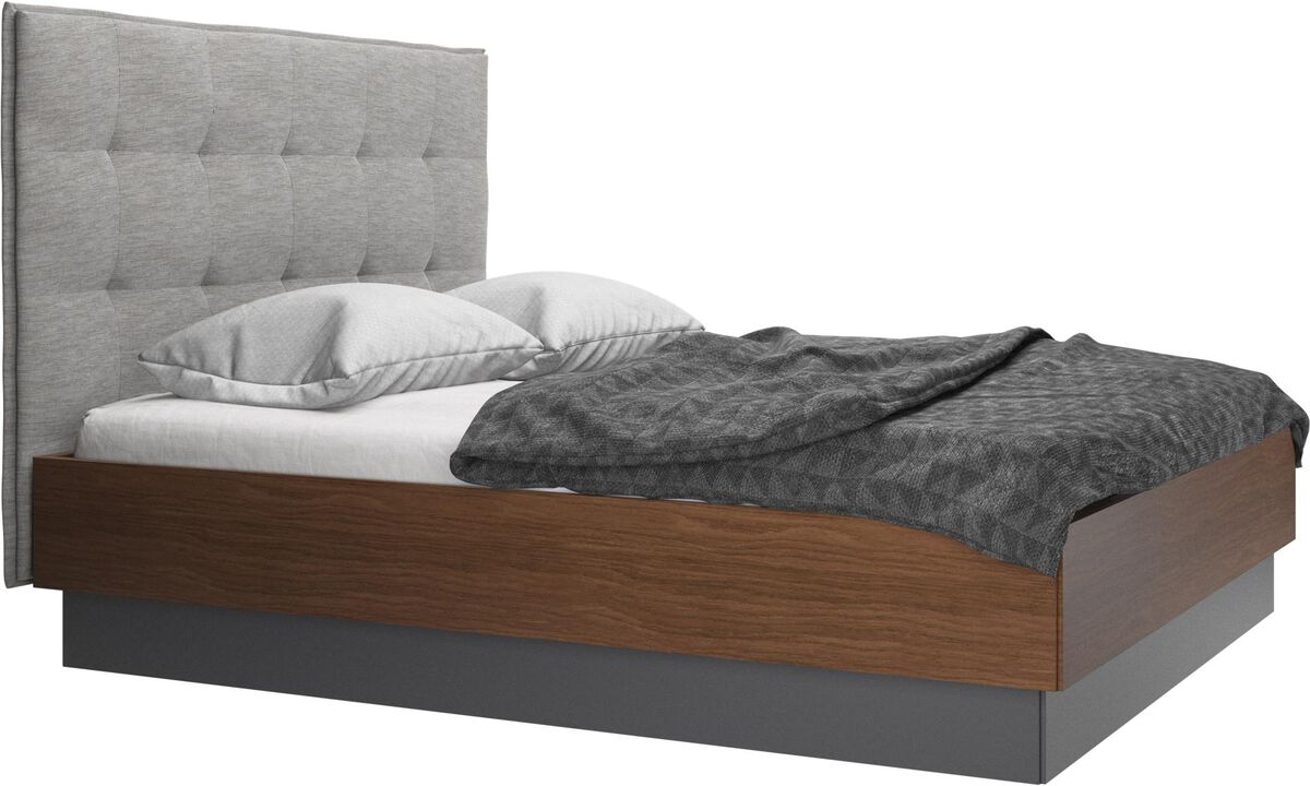 Beds - Lugano storage bed with lift-up frame and slats, excl. mattress - Gray - Fabric