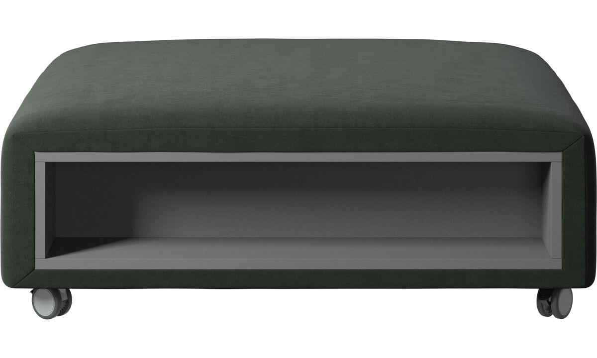 Pufs - Puf con ruedas Hampton con almacenamiento en lados derecho e izquierdo - En verde - Tela