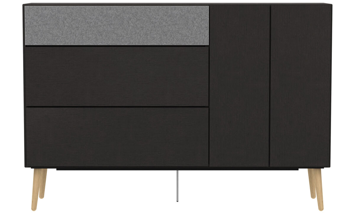 Aparadores - Aparador alto Lugano con cajones y puerta abatibles hacia abajo - En negro - Roble