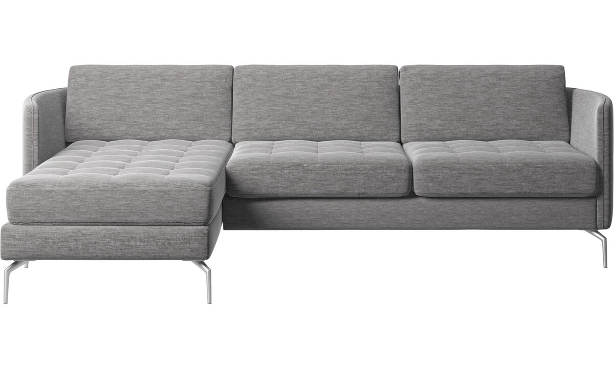 Chaise longue sofas - Osaka sofa with resting unit, tufted seat - Grey - Fabric